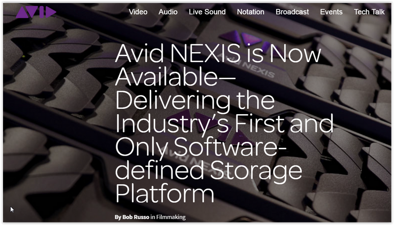 Avid Nexis Software-defined Shared Storage Platform is released!