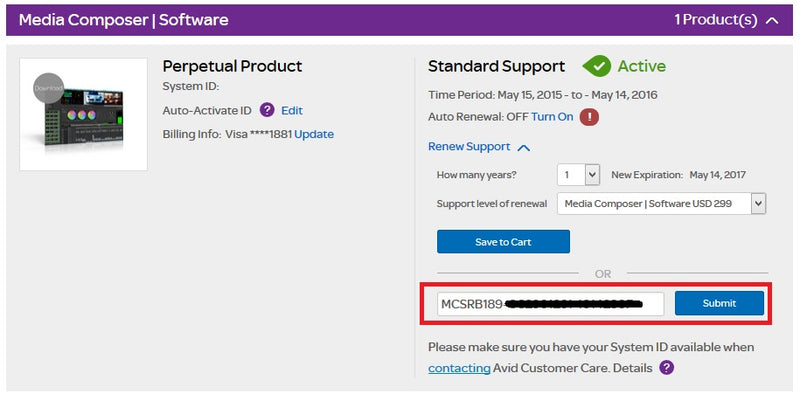 Options and steps for customers to renew their Subscriptions and Upgrade & Support plans within their My Avid Account