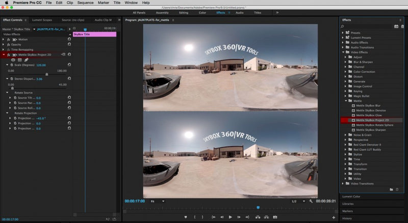 Mettle Skybox Virtual Reality Plug-ins for Adobe After Effect and Premiere Pro