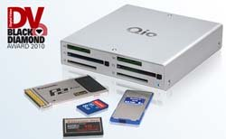 Juggling multiple solid-state media card formats? The Qio is an exemplary solution.