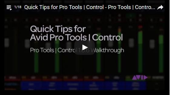 Avid Pro Tools Control 1.0.6 Tips & Walkthrough Video