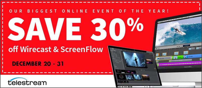 30% OFF Telestream Wirecast & ScreenFlow Software