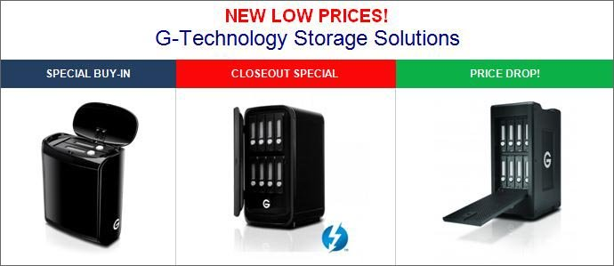 G-Technology Storage Closeout Specials and New Low Prices!