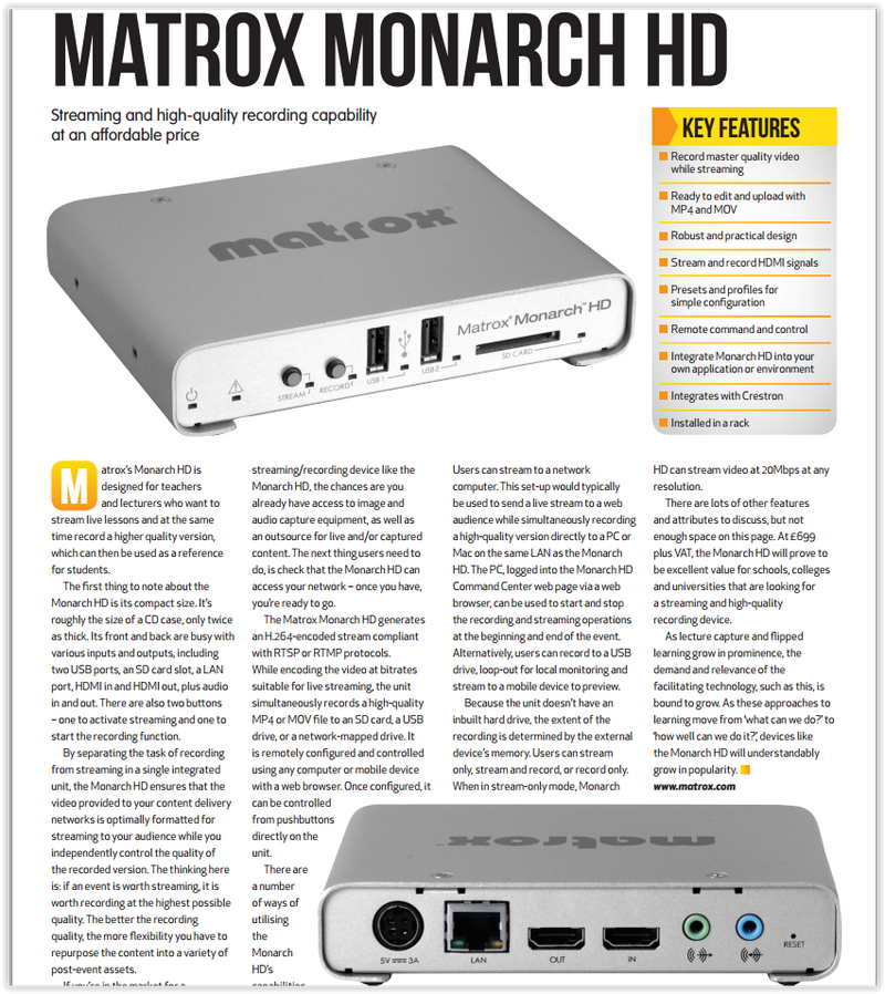 Review: MATROX MONARCH HD for Education
