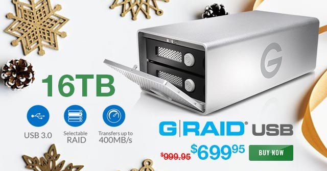 Best Price Ever for 16TB G-RAID Storage 16TB USB 3 Only $699.95