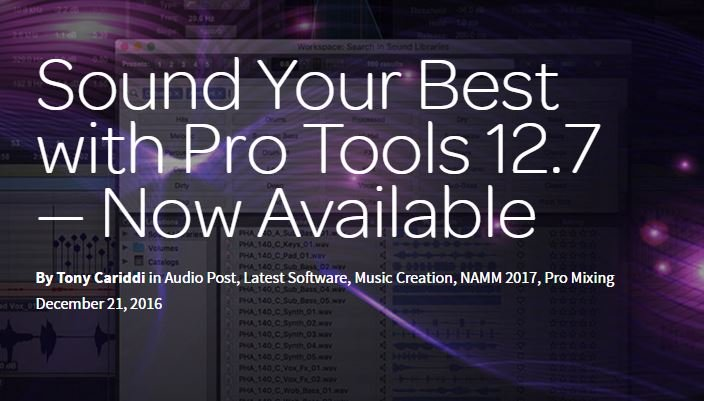 Avid ProTools 12.7 Now Available