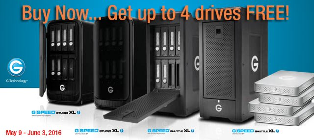 G-Technology Special: get up to 4 FREE G-DRIVE ev with G-SPEED Studio XL and Shuttle XL Purchases