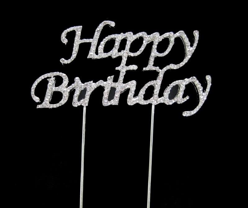 Diamante Happy Birthday Cake Topper