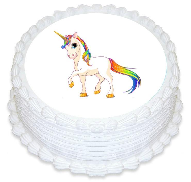 Rainbow Unicorn White Edible Image