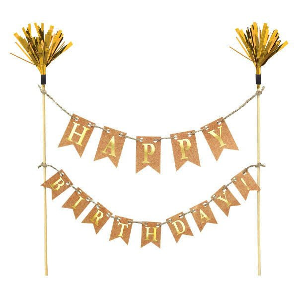 Gold Kraft Happy Birthday Bunting Cake Topper