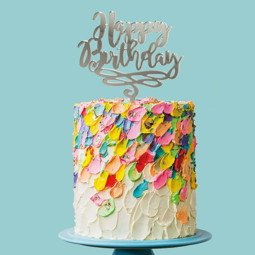 Happy Birthday Cake Topper | Mirror Cake Topper