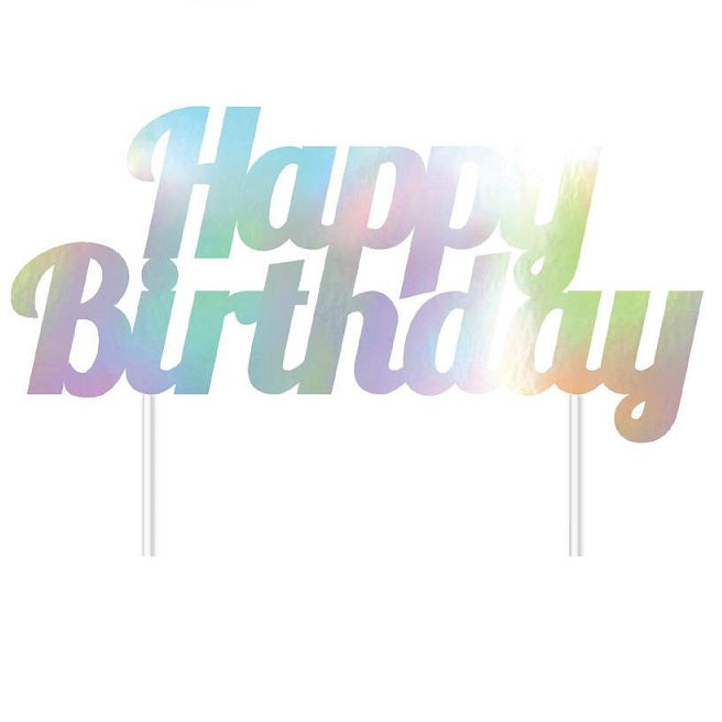 Artwrap | Iridescent Happy Birthday Cake Topper | Unicorn Party