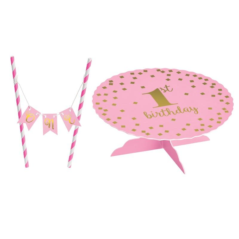 1st Birthday Pink Bunting Cake Topper Kit LAST ONE