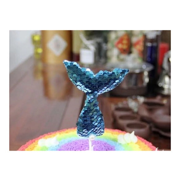The Studio Workshop | Sequin Mermaid Tail Cake Topper - Blue