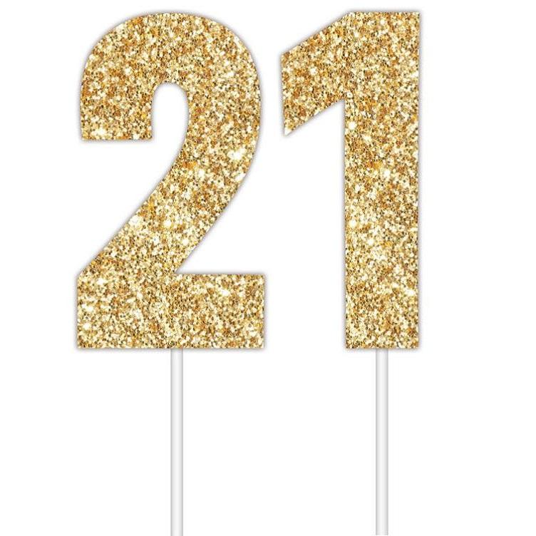 Artwrap | Gold Glitter Number Cake Topper - 21