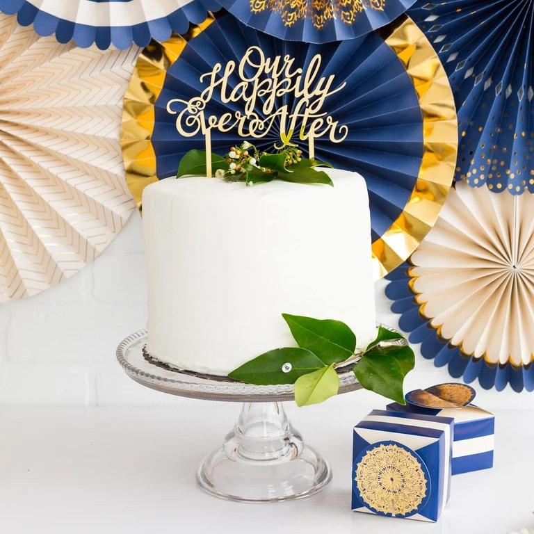 My Minds Eye Our Happily Ever After Cake Topper - Gold