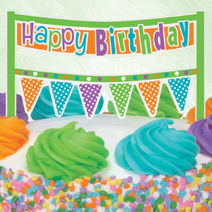 Citrus Dot Happy Birthday Cake Banner