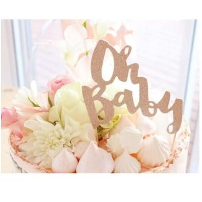 Rose Gold Cake Topper - Oh Baby
