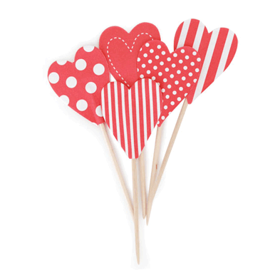 Paper Eskimo Red Hearts Cupcake Toppers