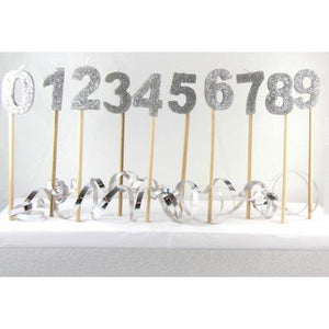 Glitter Number Long Stick Candle - Silver