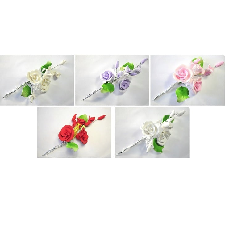 Icing Tea Rose Spray 120mm Edible Decoration