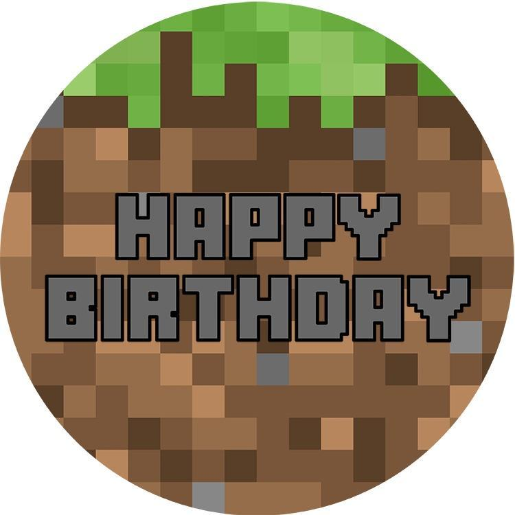 Minecraft Happy Birthday Edible Cake Image