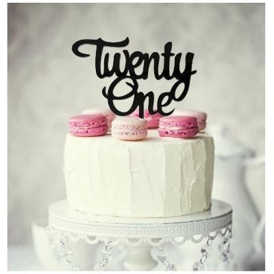 Twenty-One Cake Topper - Black