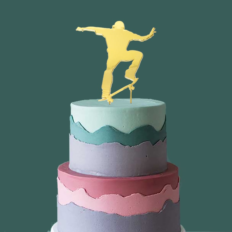Gold Plated Cake Topper - Skater