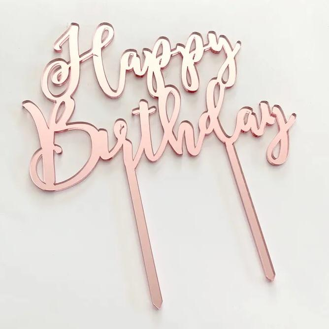 Rose Gold Mirror Cake Topper - Happy Birthday | Cake Craft