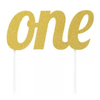 Gold Glitter Cake Topper - One