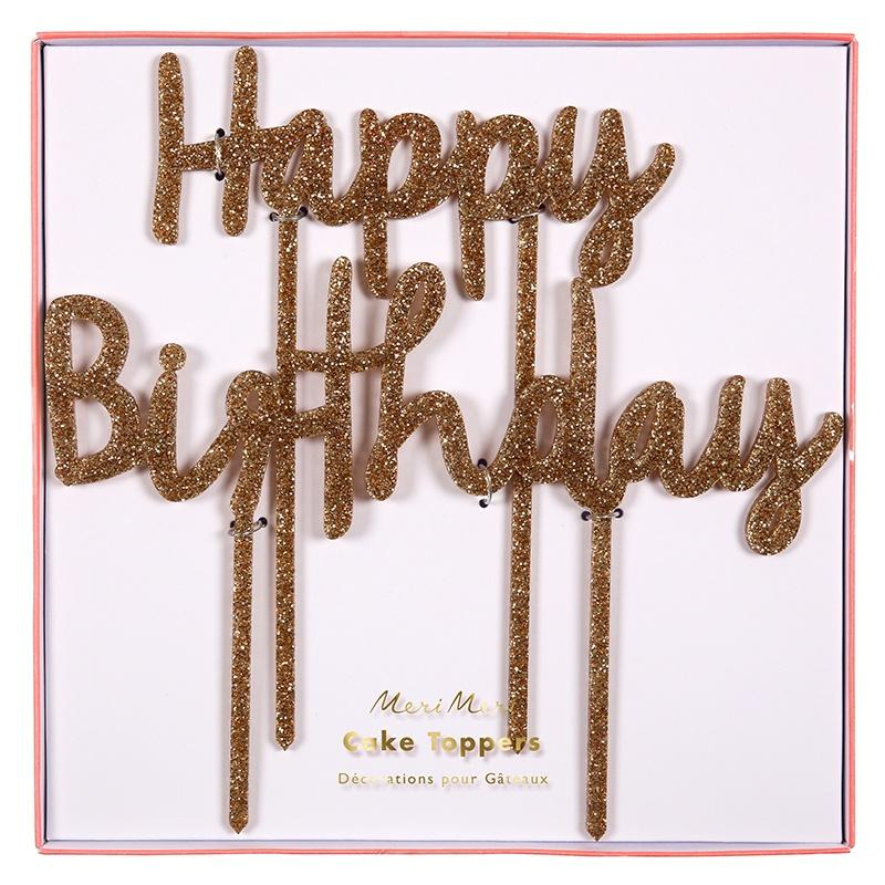 Meri Meri Happy Birthday Gold Glitter Cake Topper