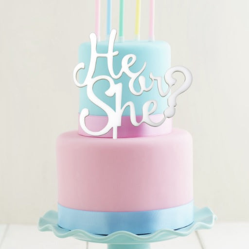 White He or She? Cake Topper