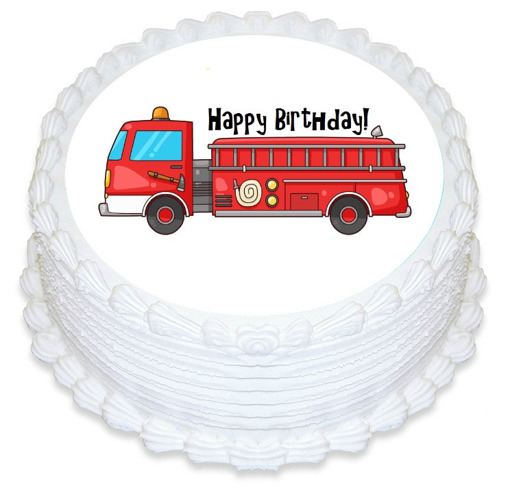 Fire Truck Edible Cake Image