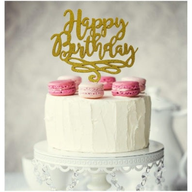 Gold Happy Birthday Script Cake Topper