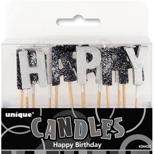 Black and Silver Happy Birthday Glitter Candles