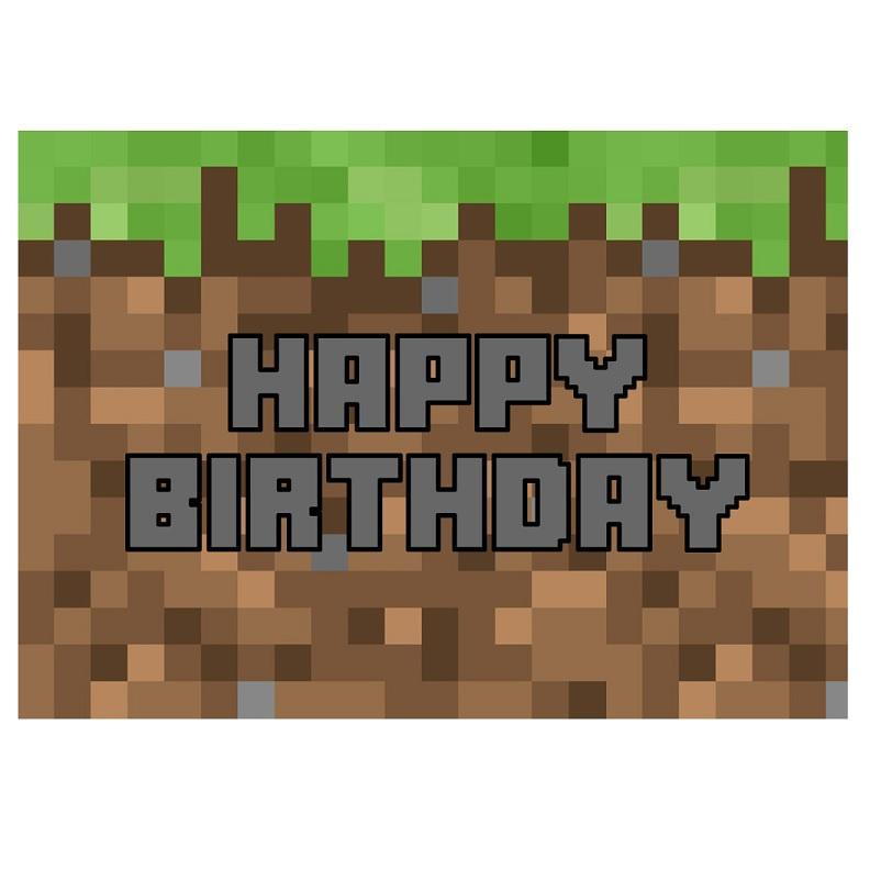 Minecraft Happy Birthday Edible Cake Image - A4 Size