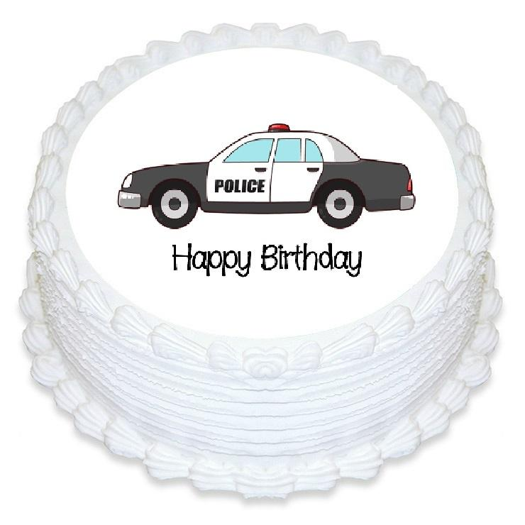 Police Car Edible Cake Image