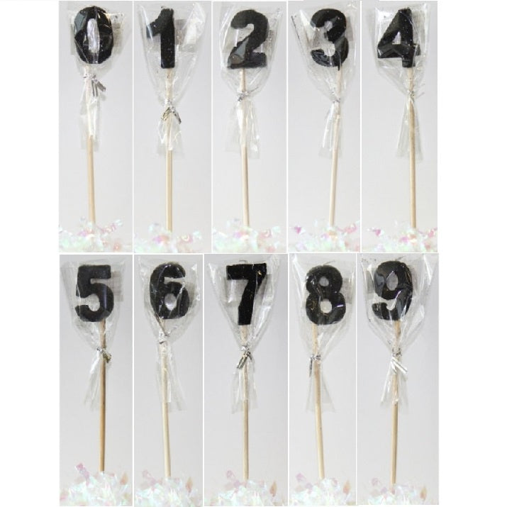 Glitter Number Long Stick Candle - Black