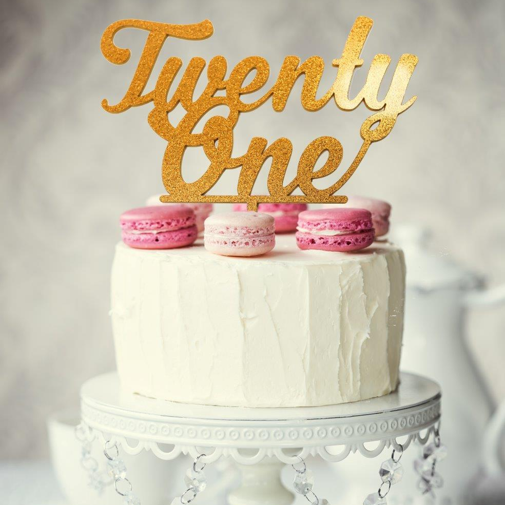 Twenty-One Cake Topper - Gold Glitter