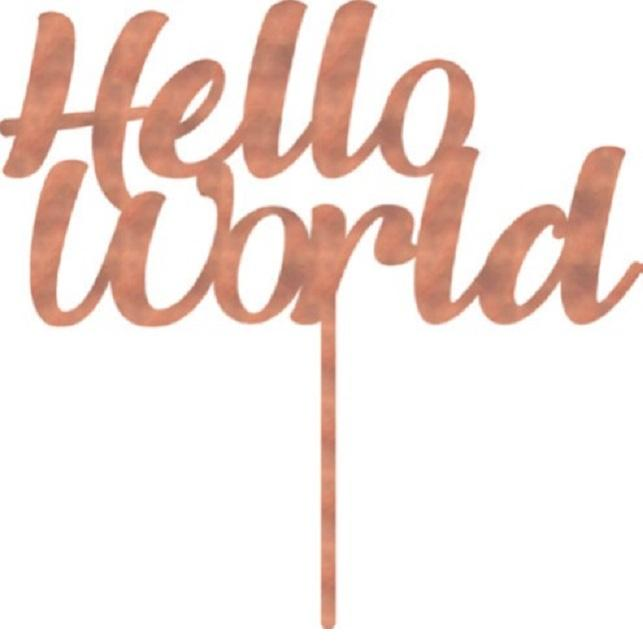 Hello World Cake Topper | Baby Shower Party Theme & Supplies