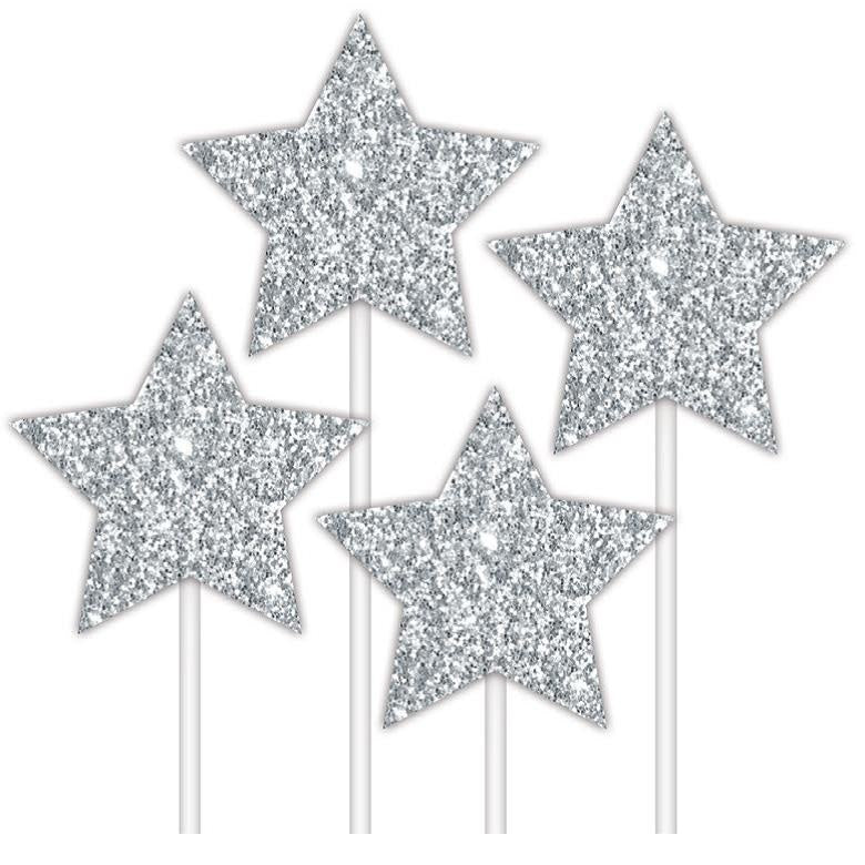 Silver Star Cake Toppers