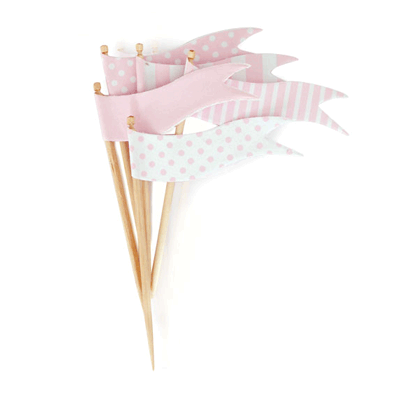 Paper Eskimo Pink Flags Cupcake Toppers