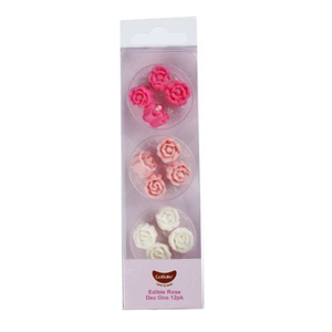 Edible Pink and White Rose Dec Ons
