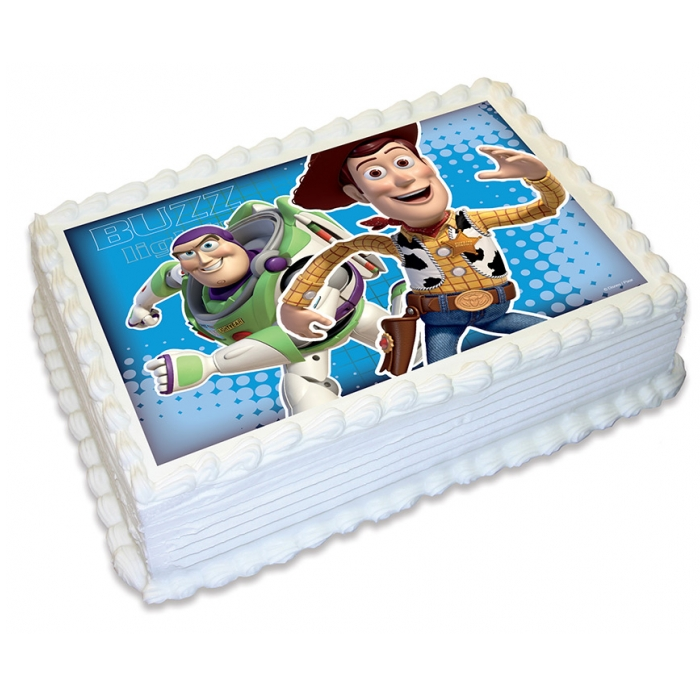 Toy Story Woody & Buzz Edible Cake Image - A4 Size