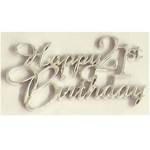 Silver Happy 21st Birthday Cake Topper