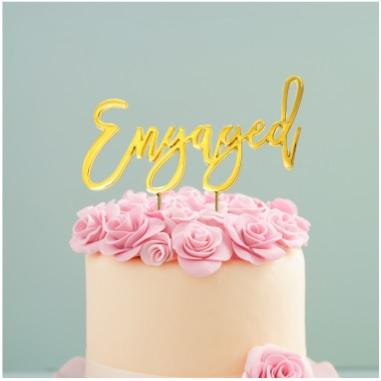 Gold Engagement Cake Topper | Engagement Party Supplies
