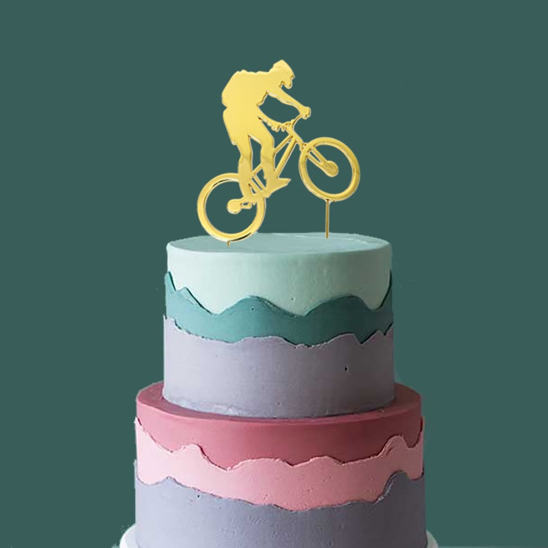 Gold Plated Cake Topper - Bike Rider