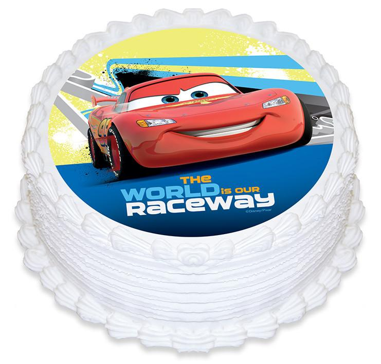 Disney Cars Round Edible Cake Image