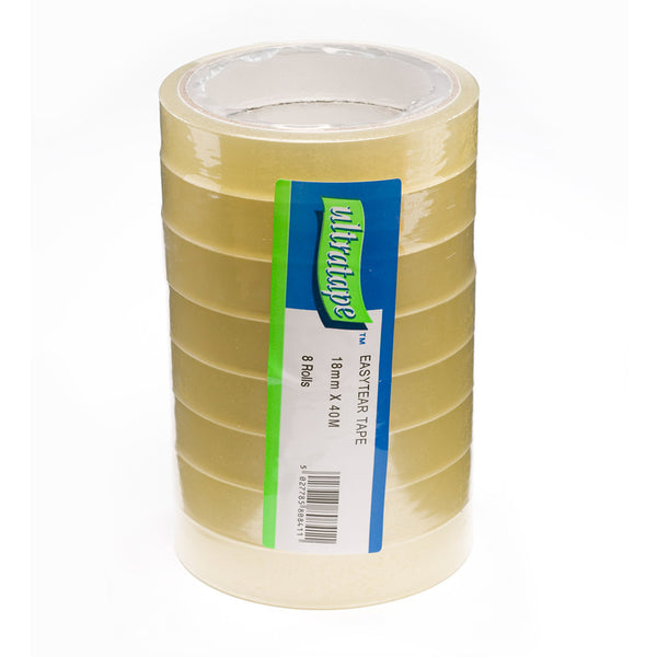 Clear 40m pack of 8 easytear tape tower by Ultratape.