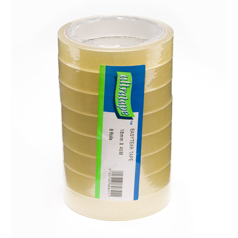 18mm x 40m Easytear Clear Tape – Tower of 8